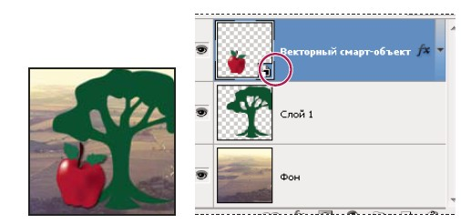 """Обычный слой и смарт-объект на панели """"Слои"""". Значок в правом нижнем углу миниатюры указывает на смарт-объект."""