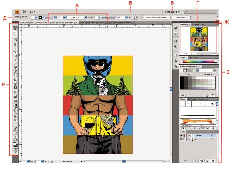 Рабочая среда Illustrator по умолчанию