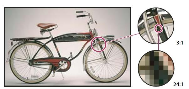 Пример растрового изображения с различной степенью увеличения