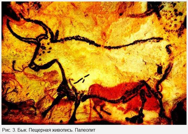 Бык. Пещерная живопись. Палеолит